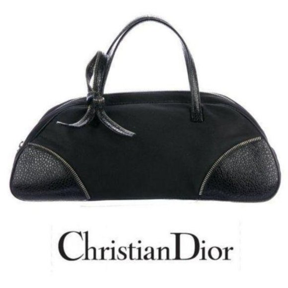 CHRISTIAN DIOR Zipper Leather Bow bowling bag